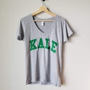 Beyonce Kale Short Sleeve Tee Green Gray Large